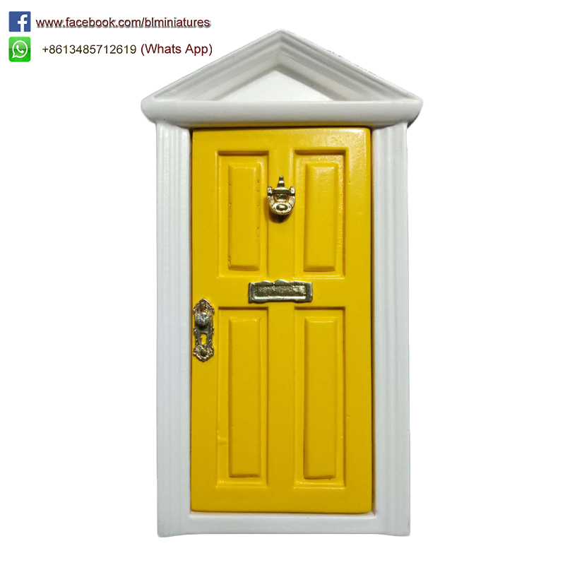 Triange Wooden Fairy Door Yellow SJM001YEL